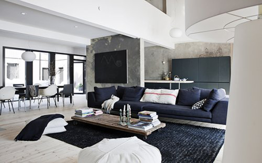 Black And White Living Room With Blue 2015 Best Auto Reviews