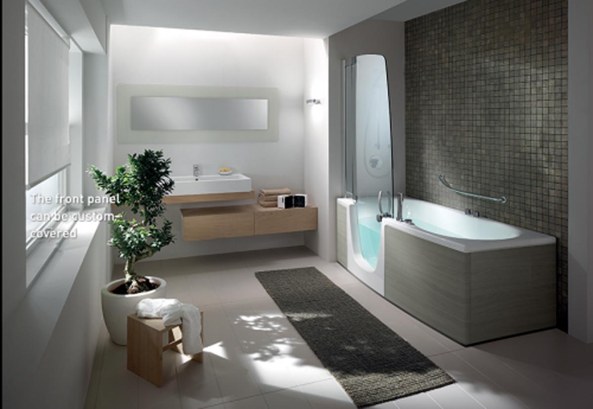 Modern bathroom interior landscape for Modern bathroom design ideas