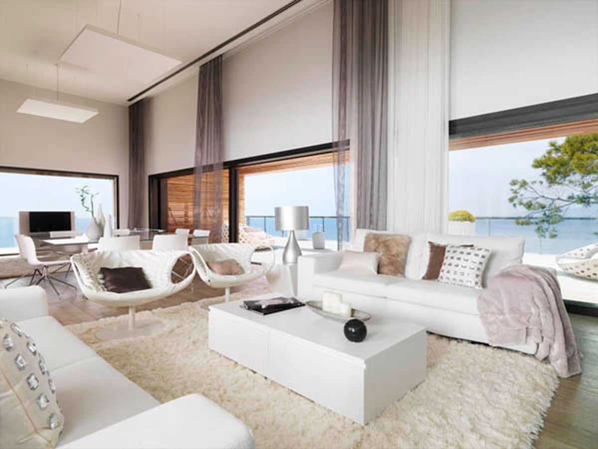 Modern white dream house living room Contemporary home interior design